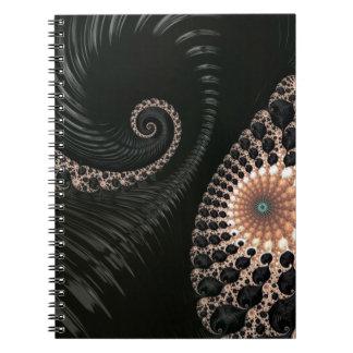 Beautiful Black Fractal Art Decor Notebooks
