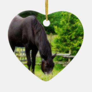 Beautiful Black Horse Ceramic Heart Decoration