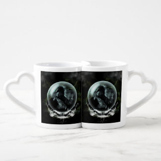 Beautiful black horse in a bubble lovers mug set