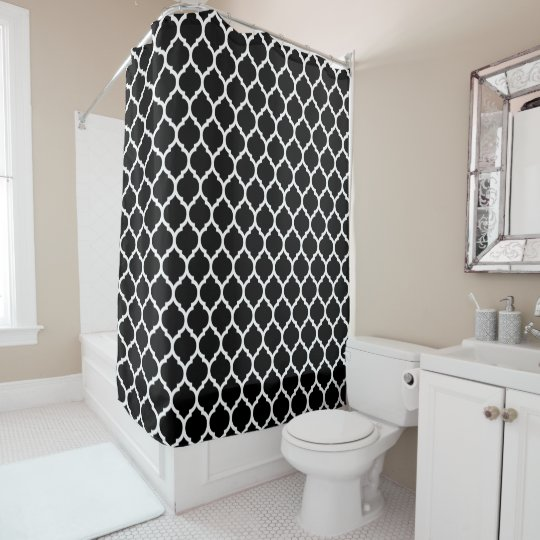 Beautiful Black Moroccan Quatrefoil Pattern Shower Curtain
