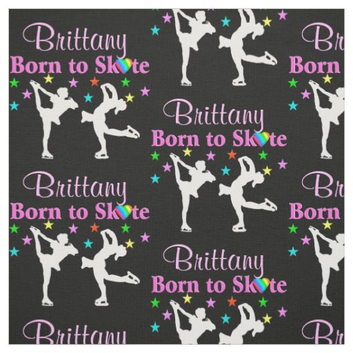 BEAUTIFUL BLACK PERSONALIZED ICE SKATING FABRIC