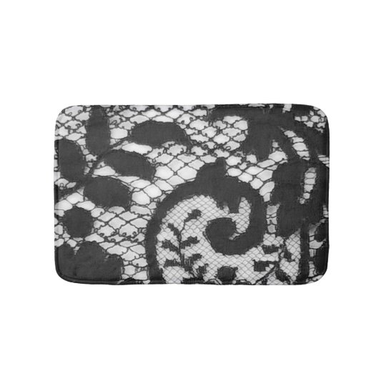 Beautiful black vintage lace fabric detail bath mat