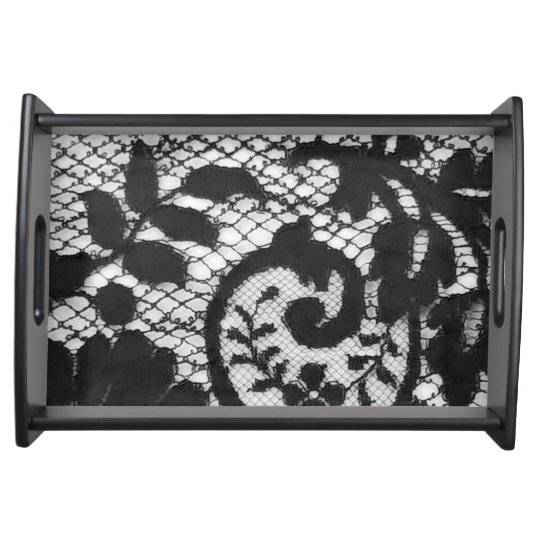 Beautiful black vintage lace fabric detail serving tray