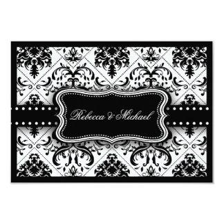 Beautiful Black & White Vintage Damask RSVP Cards 9 Cm X 13 Cm Invitation Card