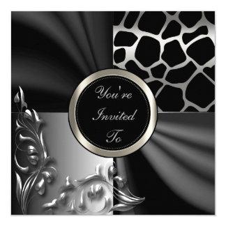 Beautiful Blackand Silver Party Invitation
