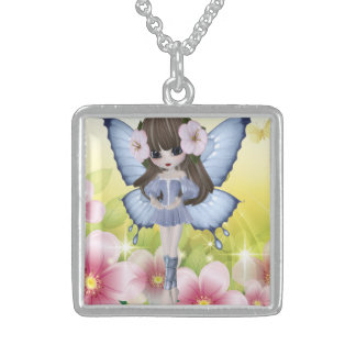 Beautiful Blond Princess Fairy Girl Square Pendant Necklace