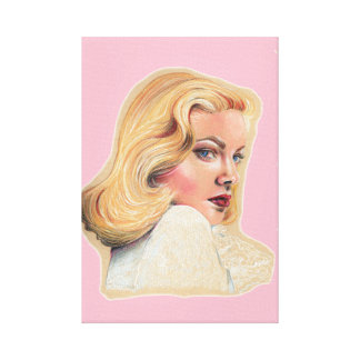 Beautiful blonde pin-up girl canvas print