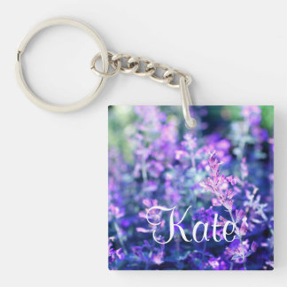 Beautiful blooming salvia Single-Sided square acrylic key ring