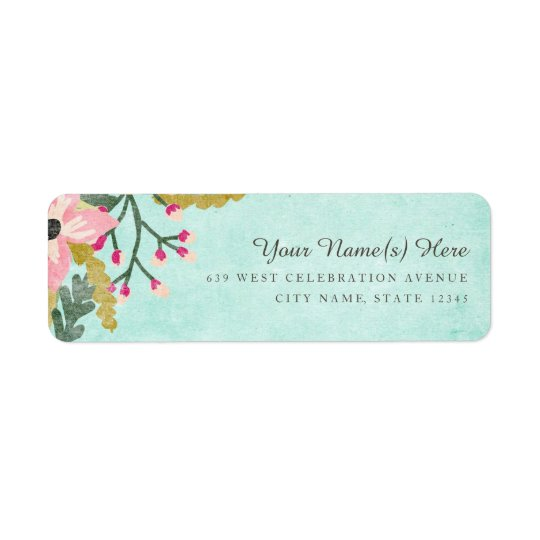 Beautiful Blooms Return Address Label / Aqua
