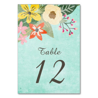 Beautiful Blooms Table Number Card Table Cards