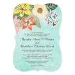 Beautiful Blooms Wedding Invitation / Aqua