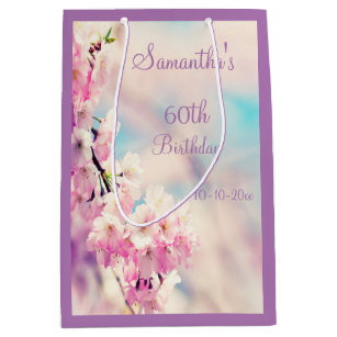 Beautiful Blossom 60th Birthday Party Medium Gift Bag
