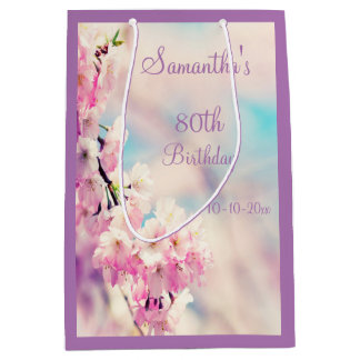 Beautiful Blossom 80th Birthday Party Medium Gift Bag