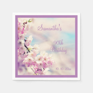 Beautiful Blossom 90th Birthday Disposable Napkin