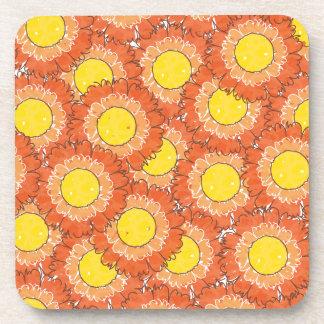 Beautiful Blossoms Cork Coasters - Orange