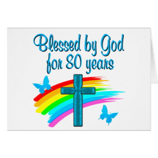 BEAUTIFUL BLUE 80TH BIRTHDAY CHRISTIAN DESIGN CARD