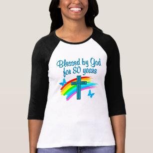 BEAUTIFUL BLUE 80TH BIRTHDAY CHRISTIAN DESIGN T Shirt