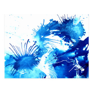 Beautiful Blue Acrylic inks Abstract Art Design Postcard