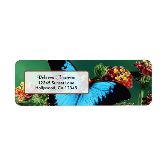 Beautiful Blue and Black Butterfly Address Label