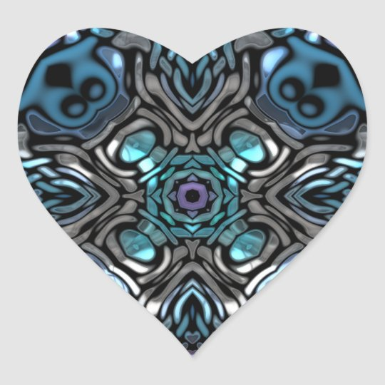 Beautiful Blue and Black Inlay Design Heart Sticker