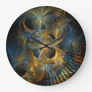 Beautiful Blue And Gold Fractal Large Clock