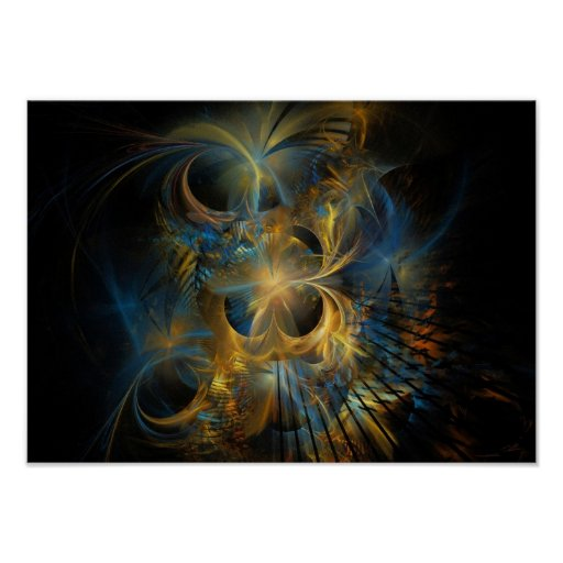 Beautiful Blue And Gold Fractal Poster