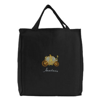 Beautiful Blue And Gold Pumpkin Carriage Embroidered Bag