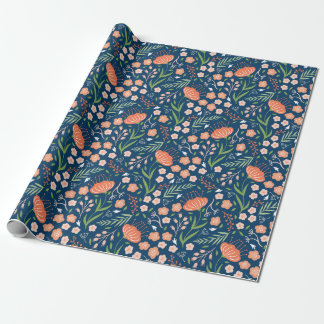 Beautiful Blue and Orange Floral Wrapping Paper