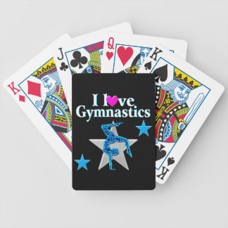 BEAUTIFUL BLUE AND SILVER GYMNASTICS DESIGN BICYCLE PLAYING CARDS