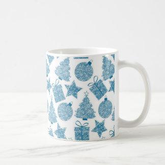Beautiful Blue and White Christmas Coffee Mug
