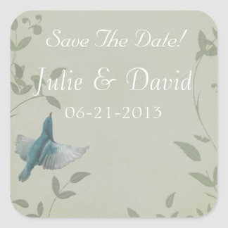 Beautiful Blue Bird Wedding Save The Date Square Sticker