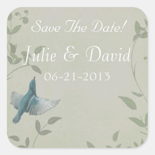 Beautiful Blue Bird Wedding Save The Date Stickers