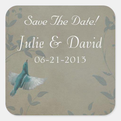 Beautiful Blue Bird Wedding Save The Date Sticker