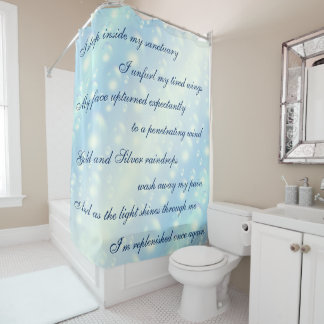 Beautiful Blue Bubbles Cleansing Mantra design Shower Curtain