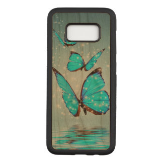 beautiful blue  butterflies carved samsung galaxy s8 case