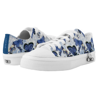 Beautiful Blue Butterflies (optional name on back) Low Tops