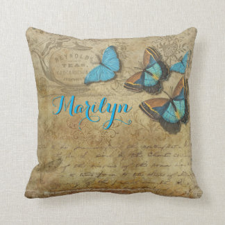 Beautiful Blue Butterflies Retro Victorian Letter Throw Pillow