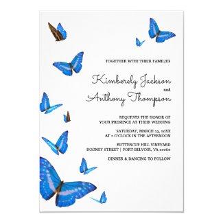 Beautiful Blue Butterflies Wedding Invitation