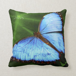 Beautiful Blue Butterfly Throw Pillow
