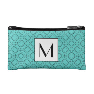 Beautiful Blue Circle Pattern Border Monogram Cosmetic Bag
