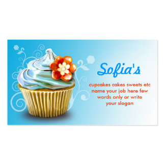 beautiful blue cupcake business cards standard business cards