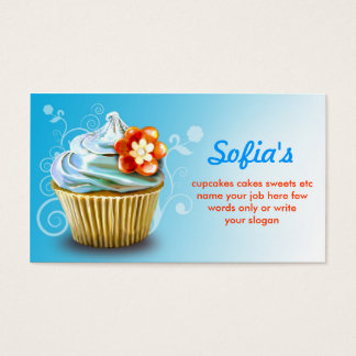 beautiful blue cupcake business cards