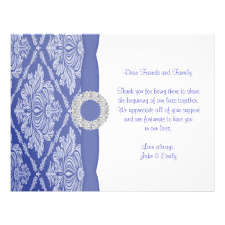 Beautiful Blue Damask Announcement 21.5 Cm X 28 Cm Flyer