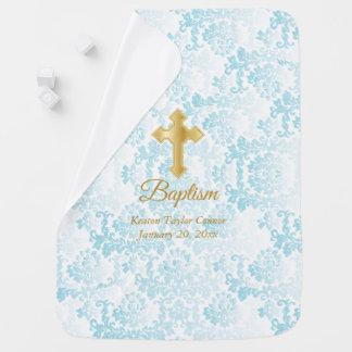 Beautiful Blue Damask Baptism Baby Blanket