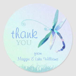 Beautiful Blue Dragonfly Wedding Thank You Sticker