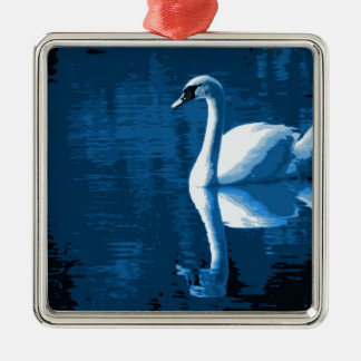Beautiful Blue Elegant Calm River White Swan Christmas Ornament