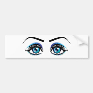 Beautiful blue eyes animation illustration bumper sticker