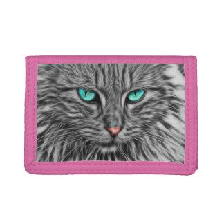 Beautiful Blue Eyes Cat Tri-fold Wallet
