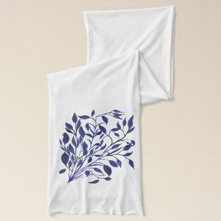 Beautiful blue fantasy floral design scarf
