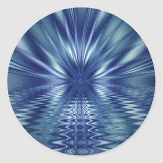 Beautiful Blue Fine Fractal Art Classic Round Sticker